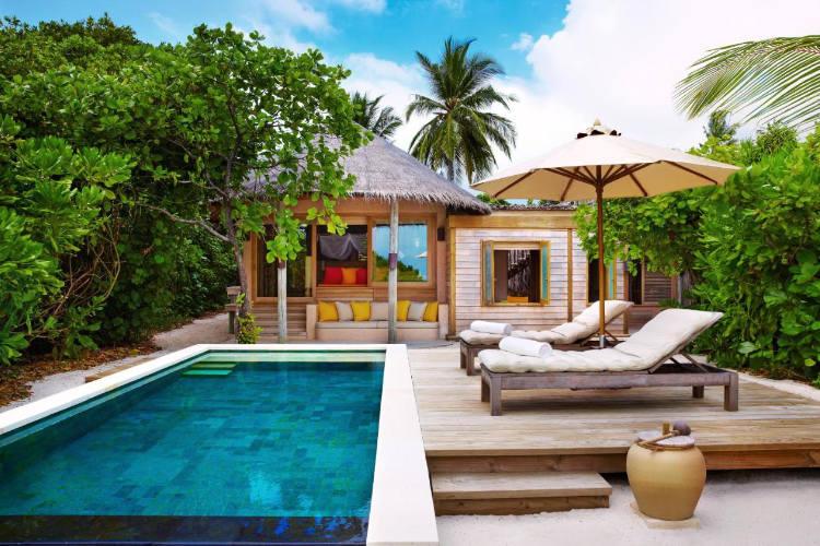 Private pool villa at Six Senses Laamu
