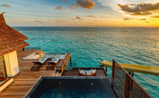 Water villa with slide