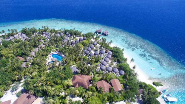 Aerial shot of Bandos Maldives