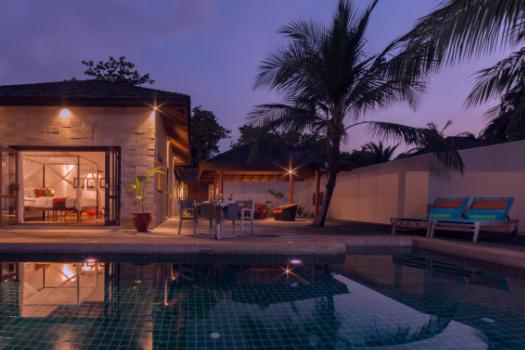 Private pool villa sunset