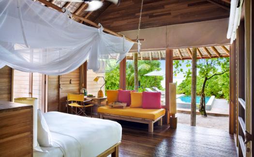 Interior of ocean beach villa