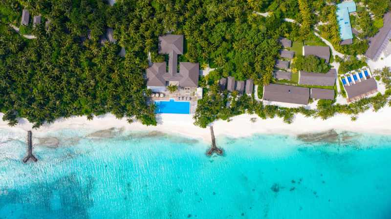 Aerial view of Fiyavalhu Maldives