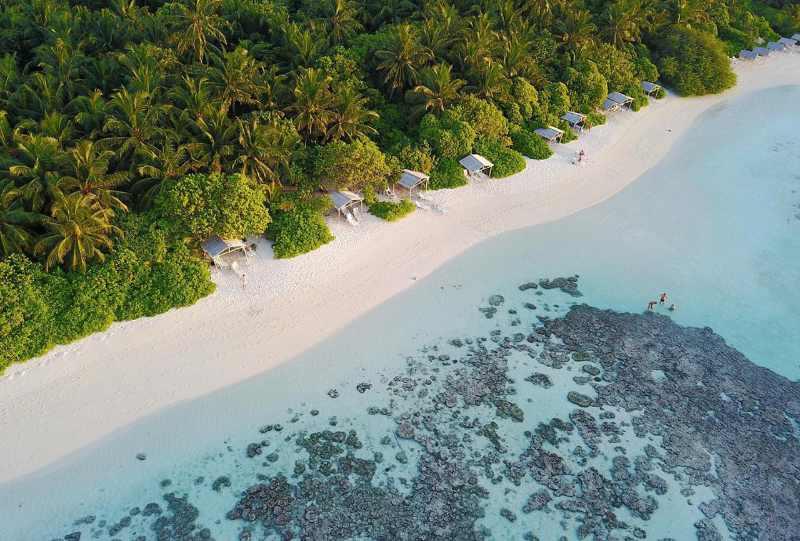 Aerial shot of Plumeria Maldives