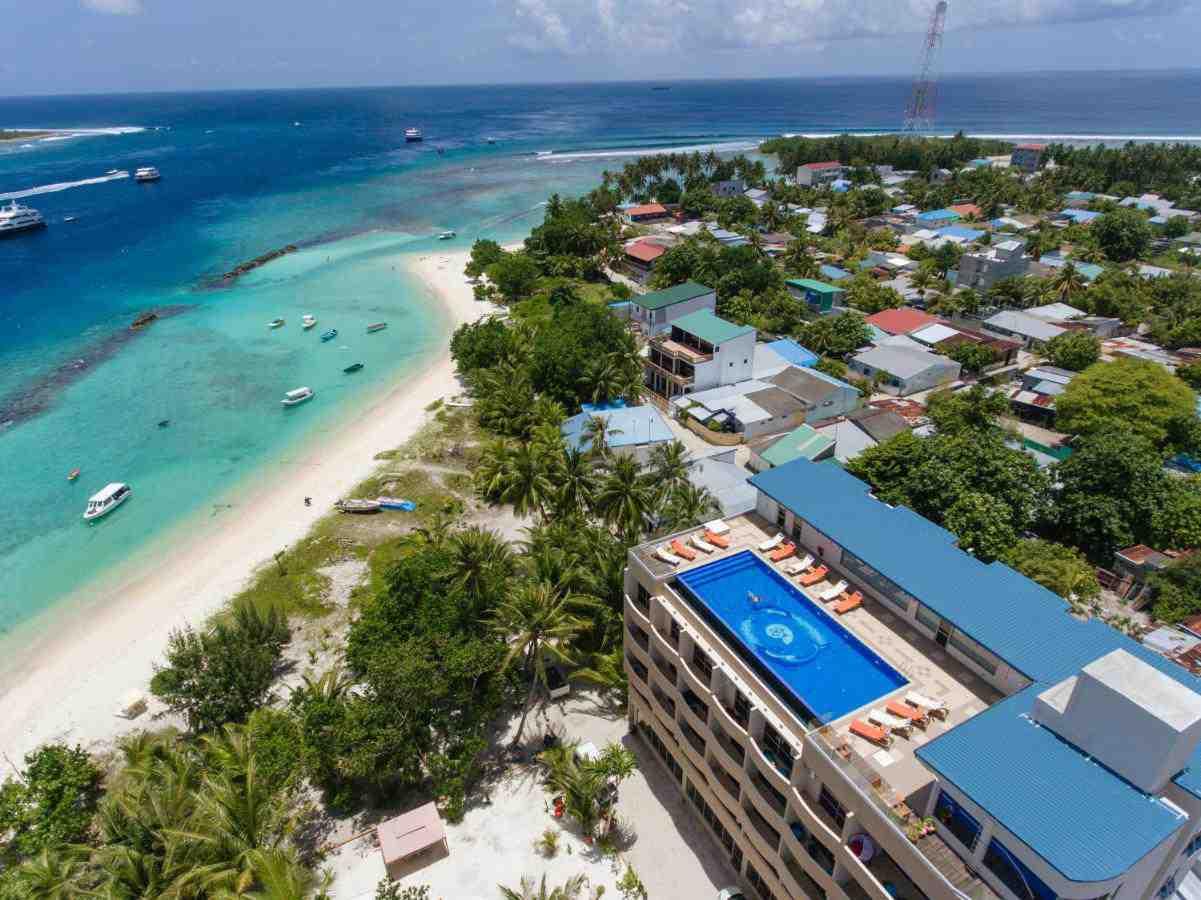 Aerial shot of Season Paradise Maldives